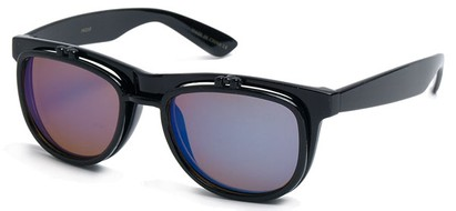 Angle of SW Flip-Up Style #1411 in Black Frame with Blue Lenses, Women's and Men's