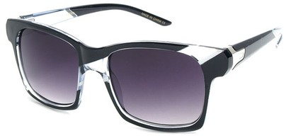Angle of SW Striped Retro Style #537 in Black and Clear Frame, Women's and Men's