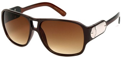 Angle of SW Retro Aviator Style #8195 in Brown Frame, Women's and Men's