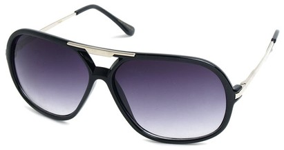 Angle of SW Aviator Style #540433 in Black with Silver, Women's and Men's
