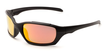 Angle of Arctic #602 in Matte Black Frame with Orange/Yellow Mirrored Lenses, Men's Sport & Wrap-Around Sunglasses