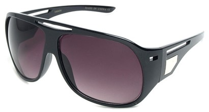 Angle of SW Fashion Oversized Style #3217 in Black Frame with Purple Lenses, Women's and Men's