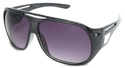 Angle of SW Fashion Oversized Style #3217 in Black Stripe Frame with Purple Lenses, Women's and Men's