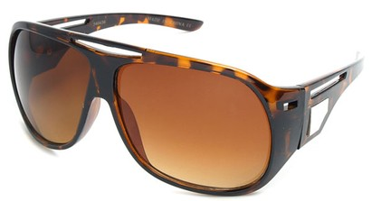 Angle of SW Fashion Oversized Style #3217 in Brown Tortoise Frame with Amber Lenses, Women's and Men's