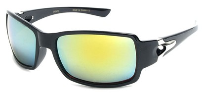 Angle of SW Mirrored Sport Style #287 in Black Frame with Blue/Green Mirrored Lenses, Women's and Men's