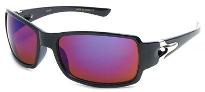 Angle of SW Mirrored Sport Style #287 in Black Frame with Purple Mirrored Lenses, Women's and Men's