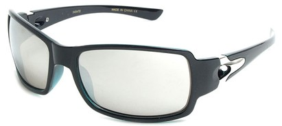 Angle of SW Mirrored Sport Style #287 in Black Frame with Silver Mirrored Lenses, Women's and Men's