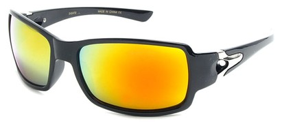 Angle of SW Mirrored Sport Style #287 in Black Frame with Yellow/Orange Mirrored Lenses, Women's and Men's