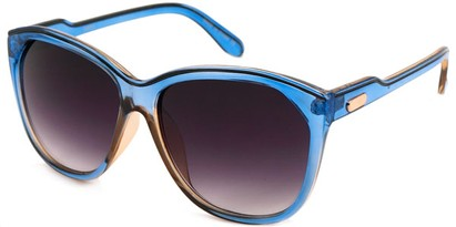 Angle of SW Oversized Retro Style #1223 in Clear Blue/Tan Frame, Women's and Men's