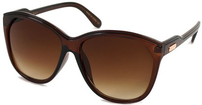 Angle of SW Oversized Retro Style #1223 in Clear Brown/Black Frame, Women's and Men's