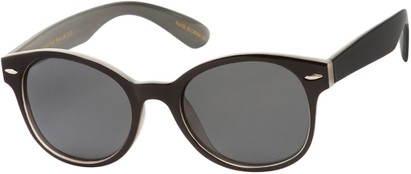Angle of Casa Blanca #1281 in Black/Grey Frame with Grey Lenses, Women's and Men's Retro Square Sunglasses
