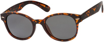 Angle of Casa Blanca #1281 in Brown Tortoise Frame with Grey Lenses, Women's and Men's Retro Square Sunglasses