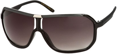 Angle of SW Oversized Aviator Style #7001 in Black/Grey Frame, Women's and Men's