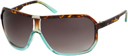 Angle of SW Oversized Aviator Style #7001 in Brown Tortoise/Blue Fade Frame, Women's and Men's