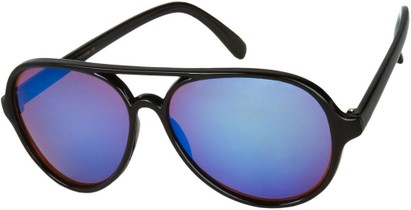 Angle of Sahara #455 in Black Frame with Amber/Blue Mirrored Lenses, Women's and Men's Aviator Sunglasses
