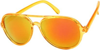 Angle of Sahara #455 in Orange Frame with Orange Mirrored Lenses, Women's and Men's Aviator Sunglasses
