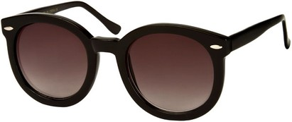 Angle of SW Round Retro Style #1598 in Black Frame with Smoke Lenses, Women's and Men's
