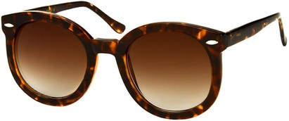 Angle of SW Round Retro Style #1598 in Brown Tortoise Frame with Amber Lenses, Women's and Men's