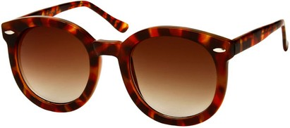 Angle of SW Round Retro Style #1598 in Red Tortoise Frame with Amber Lenses, Women's and Men's