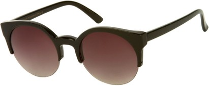 Angle of SW Retro Style #9941 in Black Frame with Smoke Lenses, Women's and Men's
