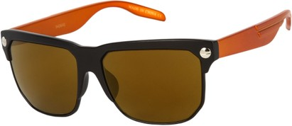 Angle of SW Mirrored Retro Style #806 in Matte Black/Orange Frame with Mirrored Brown Lenses, Women's and Men's