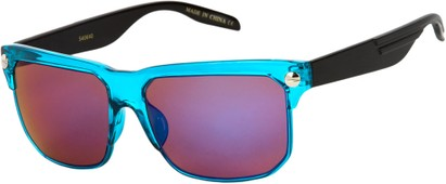 Angle of SW Mirrored Retro Style #806 in Blue/Black Frame with Mirrored Amber/Purple Lenses, Women's and Men's