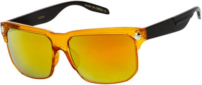Angle of SW Mirrored Retro Style #806 in Orange/Black Frame with Mirrored Yellow Lenses, Women's and Men's