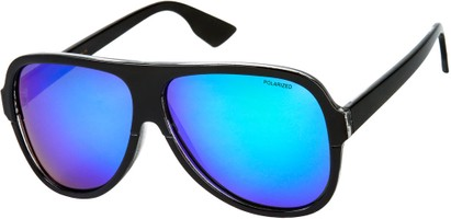 Angle of SW Polarized Aviator Style #1721 in Black Frame with Green/Purple Mirrored Lenses, Women's and Men's
