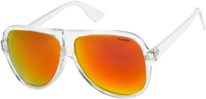 Angle of SW Polarized Aviator Style #1721 in Clear Frame with Orange Mirrored Lenses, Women's and Men's