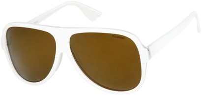 Angle of SW Polarized Aviator Style #1721 in White Frame with Gold Mirrored Lenses, Women's and Men's