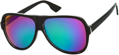 Angle of SW Mirrored Aviator Style #1760 in Black Frame with Green/Purple Mirrored Lenses, Women's and Men's