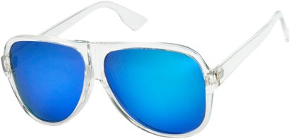 Angle of SW Mirrored Aviator Style #1760 in Clear Frame with Blue Mirrored Lenses, Women's and Men's