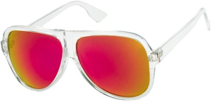 Angle of SW Mirrored Aviator Style #1760 in Clear Frame with Red/Yellow Mirrored Lenses, Women's and Men's