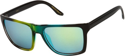 Angle of SW Mirrored Style #261 in Green/Blue Frame with Green Mirrored Lenses, Women's and Men's