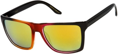 Angle of SW Mirrored Style #261 in Yellow/Pink Frame with Smoke Mirrored Lenses, Women's and Men's