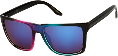 Angle of SW Mirrored Style #261 in Pink/Blue Frame with Smoke Mirrored Lenses, Women's and Men's