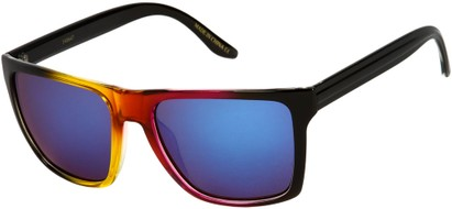 Angle of SW Mirrored Style #261 in Red/Black Frame with Yellow Mirrored Lensese, Women's and Men's