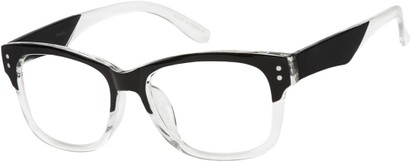 Angle of SW Clear Retro Style #7691 in Black/Clear Frame, Women's and Men's