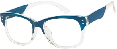 Angle of SW Clear Retro Style #7691 in Blue/Clear Frame, Women's and Men's