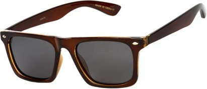 Angle of SW Polarized Style #1229 in Brown Frame with Grey Lenses, Women's and Men's