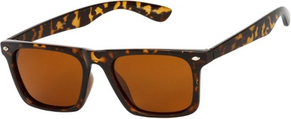 Angle of SW Polarized Style #1229 in Brown Tortoise Frame with Amber Lenses, Women's and Men's