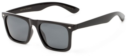 Angle of Hawkins #5476 in Black Frame with Grey Lenses, Women's and Men's Retro Square Sunglasses