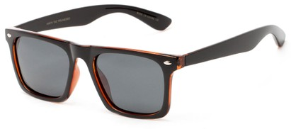 Angle of Hawkins #5476 in Black/Brown Frame with Grey Lenses, Women's and Men's Retro Square Sunglasses