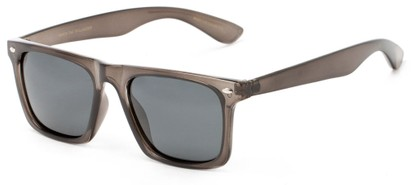 Angle of Hawkins #5476 in Clear Grey Frame with Grey Lenses, Women's and Men's Retro Square Sunglasses