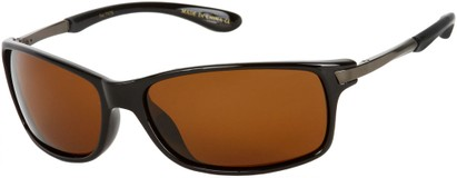 Angle of Renegade #1023 in Black/Grey Frame with Amber Lenses, Women's and Men's Sport & Wrap-Around Sunglasses