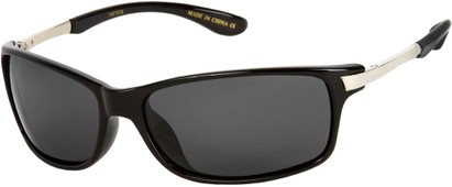 Angle of Renegade #1023 in Black/Silver Frame with Smoke Lenses, Women's and Men's Sport & Wrap-Around Sunglasses