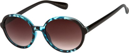 Angle of Barcelona #712 in Blue Tortoise Frame with Smoke Lenses, Women's Round Sunglasses