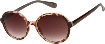 Angle of Barcelona #712 in Brown Tortoise Frame with Amber Lenses, Women's Round Sunglasses