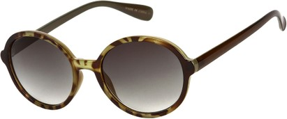 Angle of Barcelona #712 in Green Tortoise Frame with Smoke Lenses, Women's Round Sunglasses