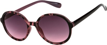 Angle of Barcelona #712 in Purple Tortoise Frame with Rose Lenses, Women's Round Sunglasses